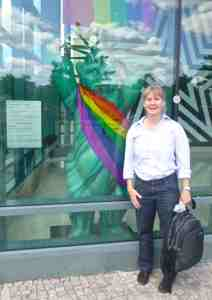 Carolyn with Gay Liberty Bear, American Embassy Berlin, June 28, 2015